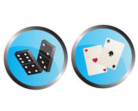 Icons depicting the dominoes and playing cards Royalty Free Stock Photo
