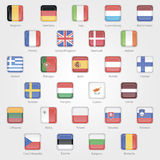 Icons depicting the flags of the EU countries. Set EPS 10 Royalty Free Stock Photos