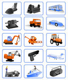 Icons for the design industry. Icons for the design of heavy industry, electronics, aircraft manufacturing, shipbuilding, oil and gas industry Stock Photos