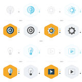 Icons design 4 styles play, light, Settings and target icon  Royalty Free Stock Photography