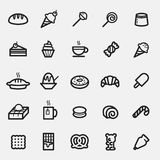 Set of Dessert and Sweets icon. 25 icons of Dessert and Sweets in bold line style Stock Image