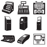 Icons of devices for money Stock Photography