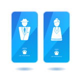 Icons of dialing mister and missis on screen. Icons of dialing mister and missis on blue screen. Man and woman simbols for calling Royalty Free Stock Photos