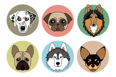 Icons of different breeds of dogs royalty free illustration