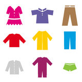 Icons of different clothes Stock Images