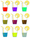Icons of different color glasses of alcohol and lemon. Raster Royalty Free Stock Photos