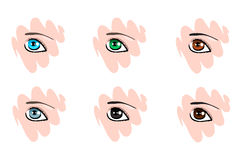 Icons with different colors the human eyes. Web icons with different colored the human eyes other people Stock Photography
