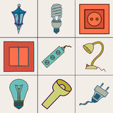 Icons of different electrical devices. Stock Images