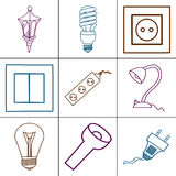 Icons of different electrical devices. Stock Photography