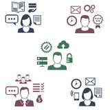 Icons of different employee with their specialization Stock Photos