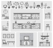 Icons of different kitchen elements. And furniture Royalty Free Stock Photos
