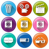 Icons with different movie images Royalty Free Stock Image