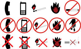 Icons with different prohibitions Stock Photos