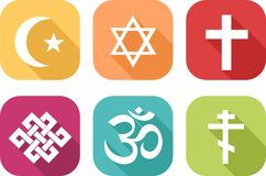 Icons of different religions stock illustration