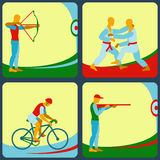 Icons of different sports. Archery, air rifle shooting, judo, cycling. Stock Images