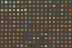 216 icons on different subjects. Vector illustration. Vector set from 216 icons on different subjects. dark background Royalty Free Stock Image