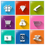Icons with different things with monetary values Stock Image