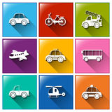 Icons with the different transportations Stock Photos