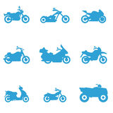 Icons for different types of motorcycles Royalty Free Stock Photos