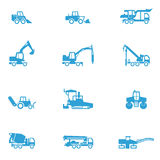 Icons for different types of special vehicles, part 4. There are icons for special building transport like concrete mixer, paver, and excavator Royalty Free Stock Images