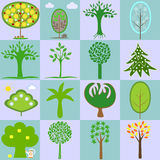 Icons with different types of trees Stock Photos
