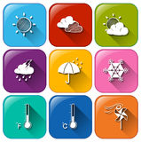 Icons with the different weather conditions Royalty Free Stock Images
