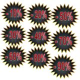 Icons of discount on a white background. Closeup vector illustration