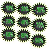 Icons of discount on a white background. Closeup stock illustration