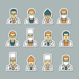 Icons doctors face, medical items and drugs. Stock Photo
