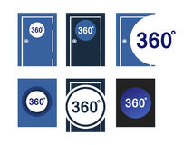 Icons doors 360 degrees. Set of icons doors 360 degrees in blue tones Stock Image
