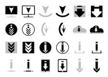 Icons for downloading files in flat style in black and white. Set of vector icons for website or app. Various simple download icon Royalty Free Stock Images