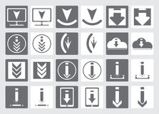 Icons for downloading files. Set of vector icons for website or app. Various simple download icon,  from the background. Gray and white download icons in flat Stock Photos