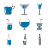 Icons of drinks in gray blue Stock Images