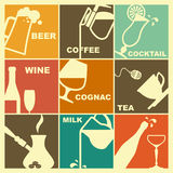 Icons of drinks. Images of various drinks in retrostyle Stock Photography