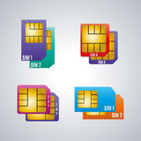 Icons dual sim card, vector illustration. Royalty Free Stock Image