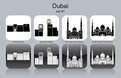 Icons of Dubai. Landmarks of Dubai. Set of monochrome icons. Editable vector illustration Stock Images