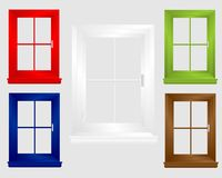 Icons of dyed windows, cdr vector. Icons of five dyed windows (red, blue, green, brown and white), isolated, vector format royalty free illustration