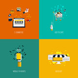 Icons for e-commerce, add to cart, mobile payments and webshop. Royalty Free Stock Photos