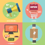 Icons for e-commerce, delivery, online shopoing. Stock Photo