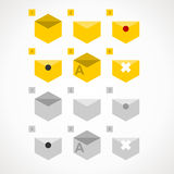 Icons e-mail. Yellow and gray color. vector format Stock Photos
