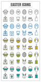 Icons Easter vector color black Yellow green blue on white backg Stock Photography