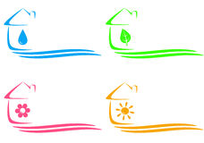 Icons of eco house, heating and water drop and pla Stock Photography