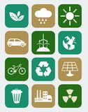 Icons with ecology concept. Set of ecology icons in flat colorful style Stock Photography