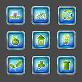 Icons with ecology elements Stock Photo