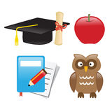 Icons Education. Vector illustration showing icons related to education field Vector Illustration