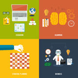 Icons for education, headwork, strategy, business. Royalty Free Stock Images