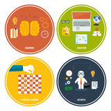 Icons for education, headwork, strategy, business. Royalty Free Stock Photo