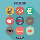 Icons of education and intelligence in Flat Style Stock Images