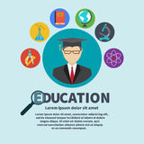 Icons education. And science. graduate student, surrounded by icons of education. Set of flat design concept icons for web and mobile services and apps. Vector Stock Photo