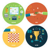 Icons for education, work, strategy, victory. Icons for education, work, strategy, victory and business tools. Concept of different icons in flat design Stock Photos